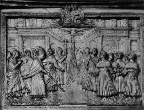 Mino da Fiesole, Relief des Schneewunders vom ehem. Hochaltarziborium in Santa Maria Maggiore, Rom, um 1461/1463