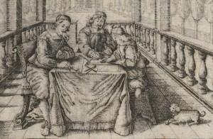 """Zeichenstunde im Sommerhaus. Joseph Furttenbach d.Ä., Jonas Arnold und Joseph Furttenbach d.J. Stich Nr. 9 aus """"Feriae architectonicae"""", 1662 (Ausschnitt)."""